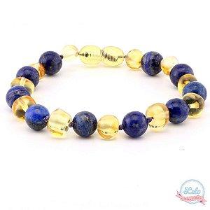 Pulseira de âmbar adulto lapis lazuli limão barroco polido