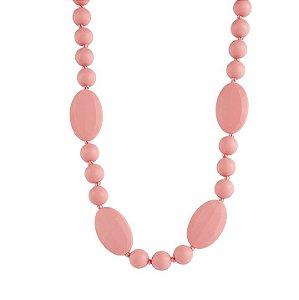 Colar mordedor em silicone rosa bebê oval