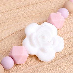 Prendedor de chupeta em silicone - Flor (Rosa)