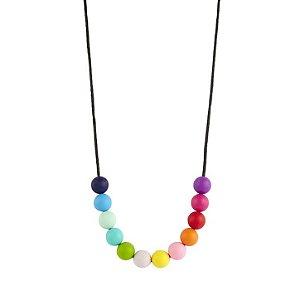Colar mordedor em silicone arco íris