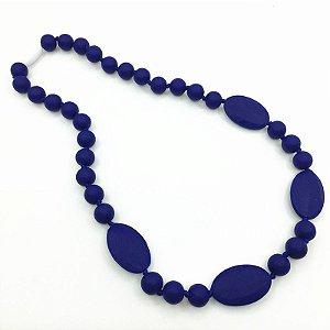 Colar mordedor em silicone oval navy blue