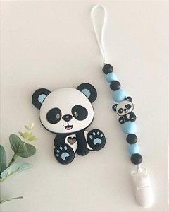 Prendedor de Chupeta em Silicone - Panda Baby