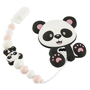 Prendedor de Chupeta em Silicone - Panda Baby Rosa