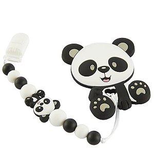 Prendedor de Chupeta em Silicone - Panda Baby Preto