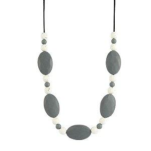 Colar mordedor em silicone oval gray