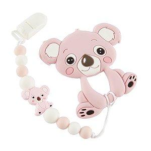 Prendedor de Chupeta em Silicone - Koala Baby Rosa