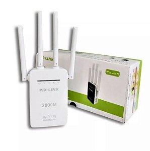 Repetidor Wireless 4 Antenas Externas 300Mbps Wi-Fi AP de Parede Branco Pix-Link LV-WR09