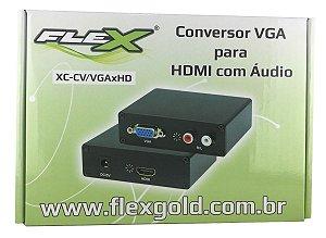 Conversor VGA p/ HDMI c/ audio Flex Gold XC-CV/VGAxHD