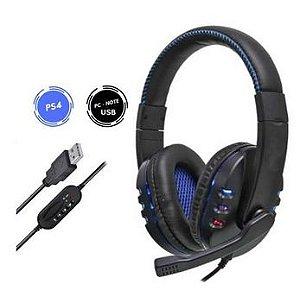 Headset Gamer Fone Com Microfone 7.1 Emulado Usb 2.0 Iluminação Led Para Pc Ps4 Ps3 - Fr-215 - Kp-359 Ej-md04