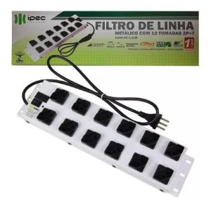 Filtro De Linha 12 Tomada Metalico Bivolt 110v/220v