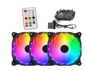 Kit 3 Cooler Fan Led Rgb 12cm + Fita Led + Controladora Pc