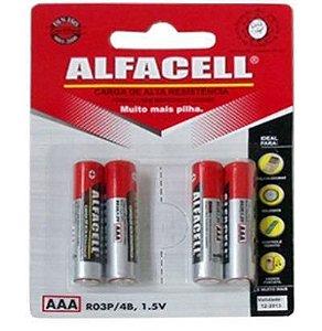 Pilha Aaa Palito 1,5v com 4 Unidades na Cartela - Alfacell/Imporiente