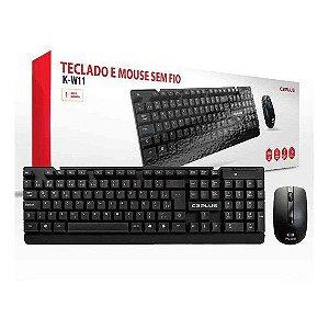 Teclado e Mouse sem FIO C3 Tech K-w11bk C3plus Preto