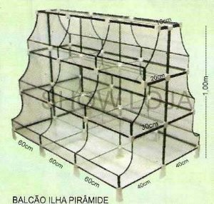 Gôndola Pirâmide Vidro 0,80 x 1,,00 x 1,80mt