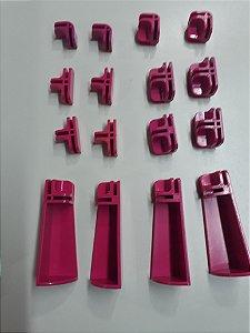 Kit conectivos para balcão 03 módulos - vidro ou aramado 4mm