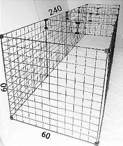 Cercado Para Cachorros Pequeno Porte - Tela Aramada 60 x 60 x 240 sem Fundo com Reforço
