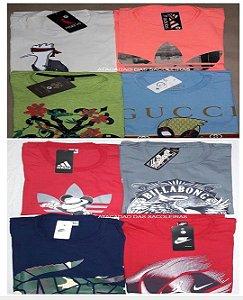 Camisetas 30.1 Malha Penteada Silkscreen Estampadas - 10 Peças