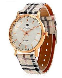 Relógio Feminino Quartz com pulseira de couro -  Frete Grátis