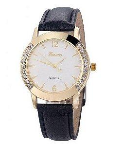 Relógio  Feminino com Strass  pulseira couro artificial - Frete Grátis
