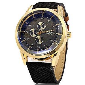 Relógio S-56 Três Decorativas Sub-Dials Masculino Quartz Watch - Frete Grátis