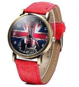 Relógio WoMaGe 1128-3 Padrão bandeira britânica Feminino Quartz Assista Round Dial Leather Band - Frete Grátis