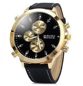 Relógio de Luxo quartzo com Pulseira de couro para homens - Frete Grátis