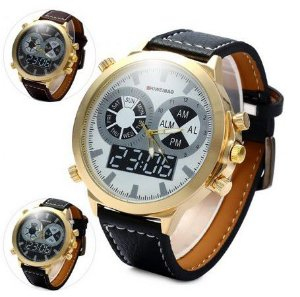 Relógio de quartzo masculino com pulseira de couro SHIWEIBAO A1052  - Frete Grátis