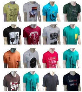 Kit 50 Camisetas Variadas 100% Algodão - FRETE GRÁTIS
