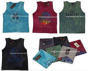 Camisetas Regatas  Lavada  Marcas e Cores Variadas - 10 Peças