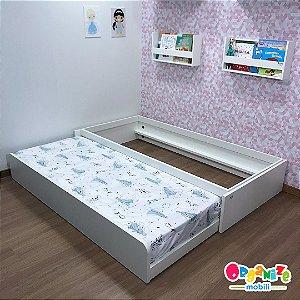 Cama auxiliar mobili kids branca - cama auxiliar com estrutura para cama auxiliar