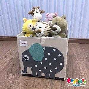 Cesto organizador infantil quadrado 3 sprouts modelo Elefante