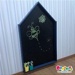 Lousa criativa AZUL infantil fundo lousa negra