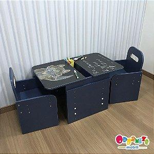 Combo Mesa dupla tampo lousa negra com regulagem de altura + 2 cadeiras com regulagem de altura AZUL