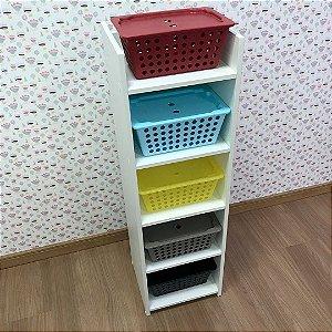 Torre infantil com 5 prateleiras - acompanha 5 caixas P com tampas - 5 CxPT