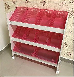 Organizador de Brinquedos 6 Travessas Cxs rosa
