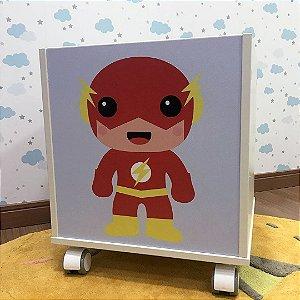 Baú organizador de brinquedos com tema Flash