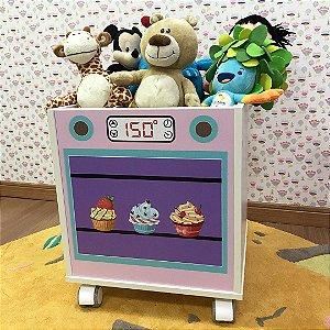 Baú organizador de brinquedos com tema forninho