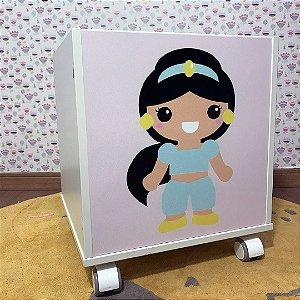 Baú organizador de brinquedos tema Princesa Jasmine