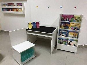 Combo 2 - uma mesa 63 cm de largura com tampo blackdots (MARI63) + uma cadeira (CAI1,2,3) + um organizador de livros compacto (OLPRI) + 3 porta lápis