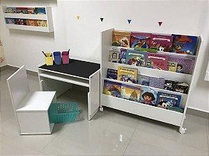 Combo 3 - uma mesa 63 cm de largura com tampo blackdots (MARI63) + uma cadeira (CAI1,2,3) + um organizador de livros grande (OLRI) + três porta lápis