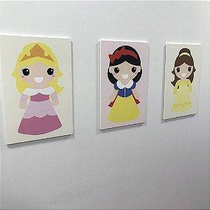 Quadro de decoração infantil princesas (3 unidades)