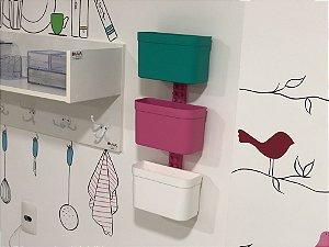 Kit Organizador cesto de encaixe ( 3 cestos grandes e uma barra grande)