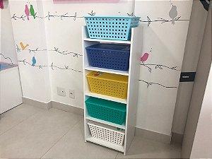 Organizador Torre Grande com 5 caixas com tampa