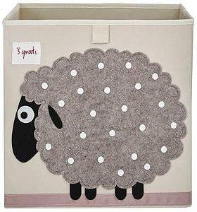 Cesto organizador infantil quadrado 3 sprouts modelo ovelha