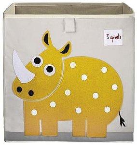 Cesto organizador infantil quadrado 3 sprouts modelo rinoceronte