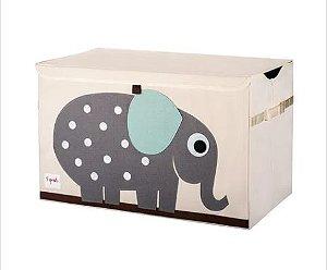 Baú organizador de brinquedos com tampa 3 Sprouts elefante