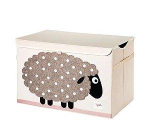 Baú organizador de brinquedos com tampa 3 Sprouts ovelha
