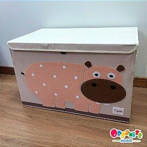Baú organizador de brinquedos com tampa hipopótamo - 3 Sprouts