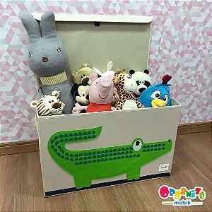 Baú organizador de brinquedos com tampa Crocodilo - 3 Sprouts