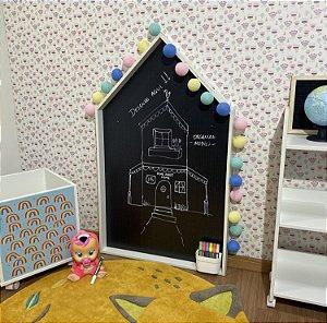 Combo Lousa criativa infantil fundo black dots + cesto de encaixe pequeno + combo caneta giz líquido